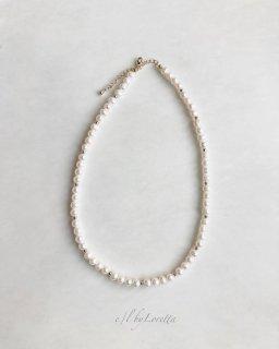 淡水パール × metal beads necklace