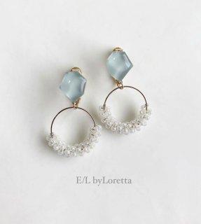 Mini KAKERA beads hoop pierce/earring (Mint)  [cc]