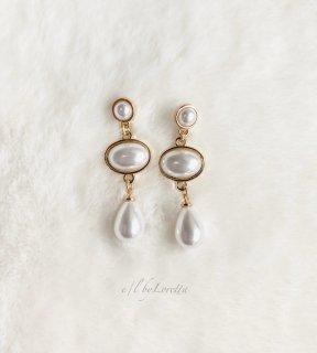 3連 pearl pierce/earring