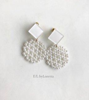 Color square × circle pierce/earring(White) [cc]