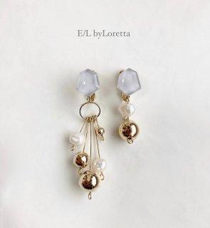 Asymmetry metal ball × 淡水パール KAKERA pierce/earring (Gray)  [cc]