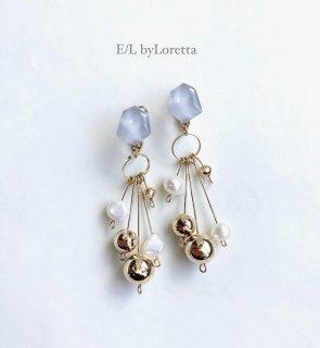 淡水パール × metal ball tassel KAKERA pierce/earring (Gray)  [cc]