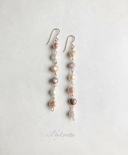 淡水パール multi color long pierce/earring