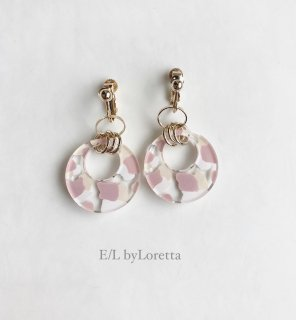 Art mix color w ring pierce/earring(Ivory × Pink) [cc]