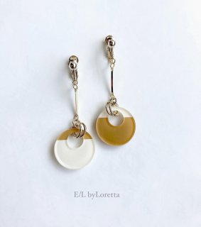 Mini circle bi-color stick pierce/earring(Mustard × Ivory) [cc]