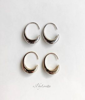 (全2色)Metal design hoop pierce