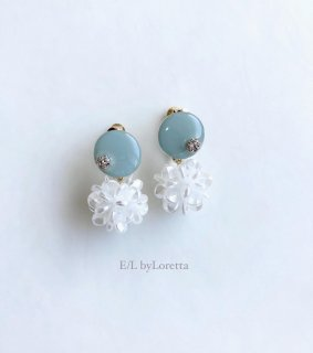 Mini circle shell flower pierce/earring(Mint) [cc]