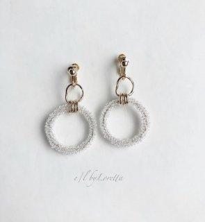 Crystal beads w ring pierce/earring(Clear)
