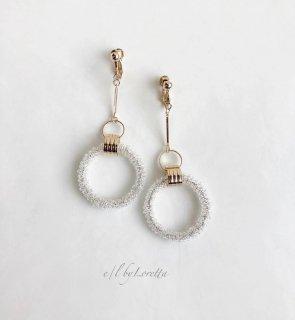 Stick crystal beads hoop pierce/earring(Clear)