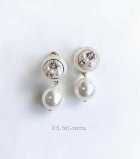 Mini circle bijou color pearl pierce/earring(White) [cc]