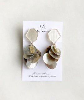 KAKERA shell tassel pierce/earring(Pearl white*Beige) [cc]
