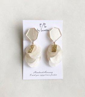 KAKERA shell tassel pierce/earring(Pearl white*White) [cc]