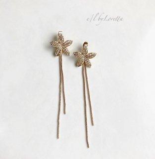 Crystal flower w chain pierce