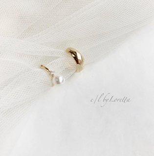 Crystal pearl × metal ear cuff