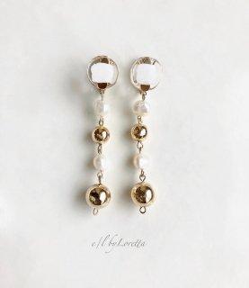 Mini circle 淡水パール × metal ball long pierce/earring(White) [cc]