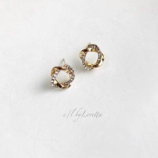 Crystal × metal cross ring pierce
