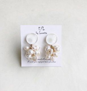 Mini circle 淡水パール tassel pierce/earring(White) [cc]