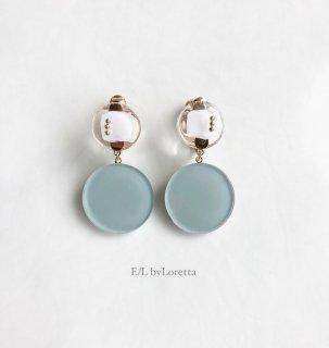 【8/3(tue)21:00〜Order Start.】W circle studs pierce/earring(Mint × White) [cc]