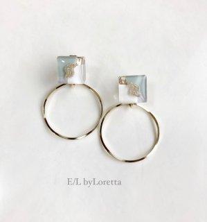 【8/5(thu)21:00〜Order Start.】3color square hoop pierce/earring(Mint)