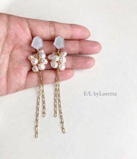 Mini KAKERA 淡水パール ×chain tassel pierce/earring(Gray) [cc]