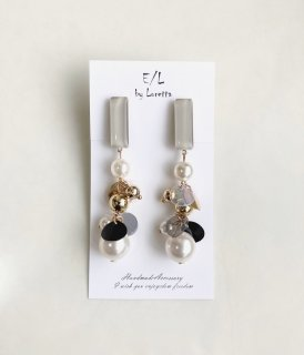Color stick mix tassel pierce/earring(Beige) [cc]