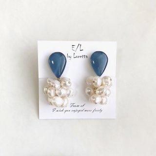 Shizuku 淡水パール tassel pierce/earring(Blue) [cc]