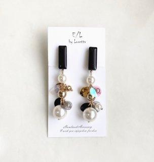Color stick mix tassel pierce/earring(Black) [cc]