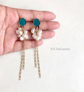Mini KAKERA 淡水パール ×chain tassel pierce/earring(Green) [cc]