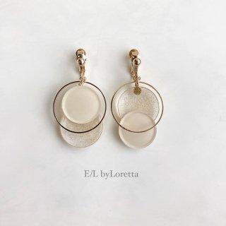 Asymmetry color pallet pierce/earring(Ivory×Glitter) [cc]