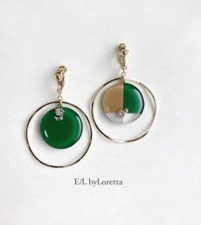 3color big hoop pierce/earring(Fresh Green)