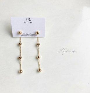 2way metal ball chain pierce(Gold)