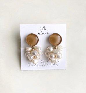 Mini circle 淡水パール tassel pierce/earring(Mustard) [cc]