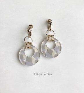 Art mix color w ring pierce/earring(Beige Mix) [cc]