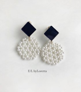 Color square × circle pierce/earring(Navy) [cc]