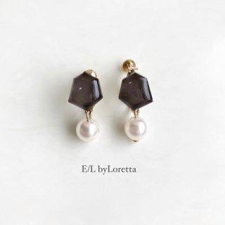 Mini KAKERA pearl pierce/earring (Brown)  [cc]