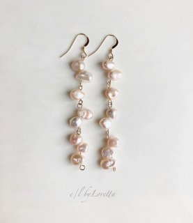 淡水パール random long pierce/earring(Pale Pink)