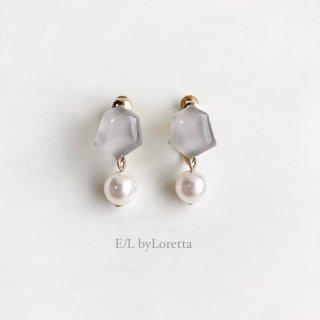 Mini KAKERA pearl pierce/earring (Beige)  [cc]