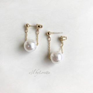 Big pearl chain pierce