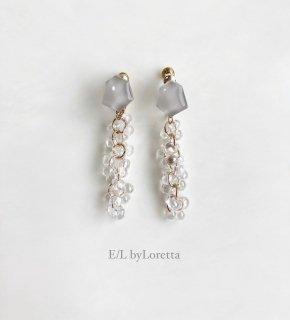 Mini KAKERA clear beads tassel pierce/earring (Beige) [cc]