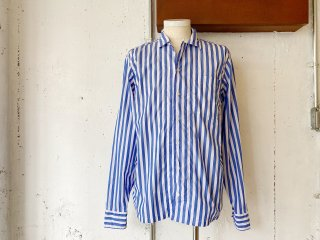 【60% OFF!!】〈Import〉OSVALDO TRUCCHI -PAINT (open collar shirt) blue stripe- Made in Italy