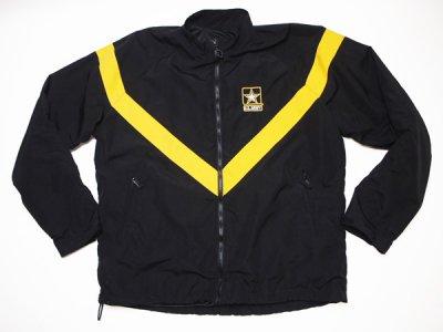 【US ARMY】米軍 実物 U.S.ARMY BLACK APFU トレーニングジャケット ミリタリー ナイロンジャケット◆Size:US-L-LONG【DEADSTOCK】