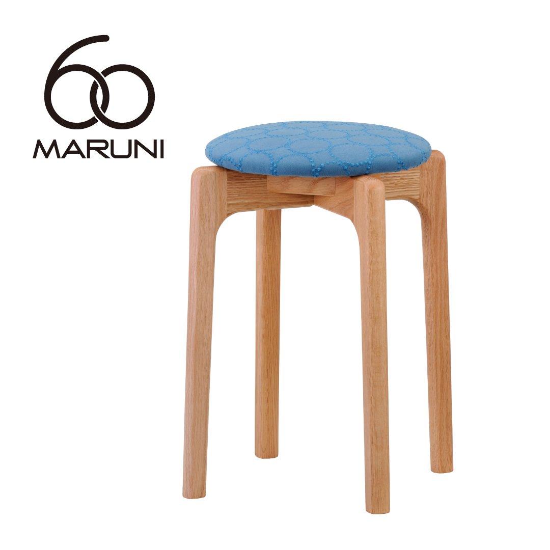 マルニ60+ オークフレーム  スタッキングスツール (ミナペルホネンdop-tambourine/ブルー )
