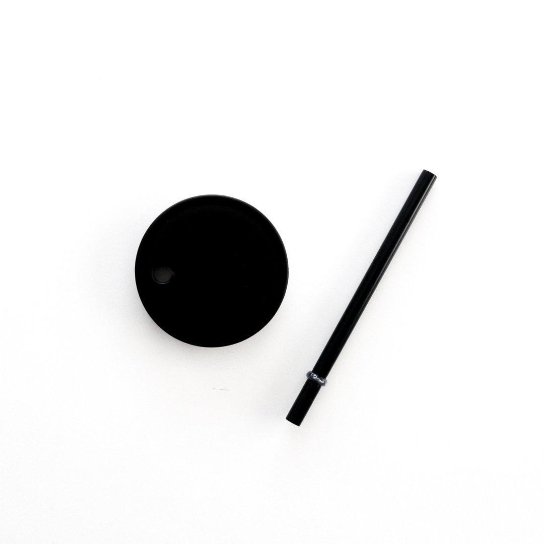 DESIGN LETTERS フタ付ストロー/ブラック