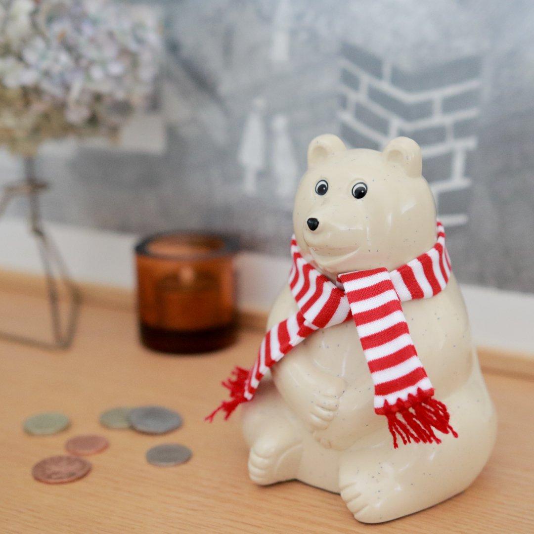 【プレゼント付】 しろくま貯金箱 Polar Bear Money Box 2021 マフラー付き