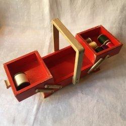 ドイツ1950〜'60年代、2段式木製ソーイングBOX 【 アンティーク1705-03 】