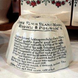 イギリス1880年〜1920年代 BROWN&POLSON'S 社・陶製コーンフラワー・ブランマルジェ・モールド・モールド(文字入り)【 アンティーク1710-15  】