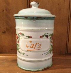 フランスJAPY社1930〜'40年代ホーロー キャニスター『Cafe』 【 アンティーク 1711-08 】
