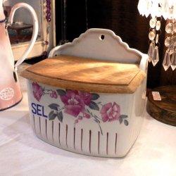フランス1940年代、木のフタつき陶製SEL(塩)入れ 【 アンティーク1801-13 】