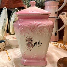 ドイツ1920〜'30年代 * ピンクのレリーフがステキな陶製キャニスター *