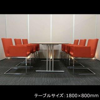 【スレンダーなパイプフレームが、足もとをスタイリッシュに飾る】【テーブル+チェア�脚セット】【中古】コクヨ/アテーザ(テーブル)+ ナイキ/E343F-DOR(チェア)